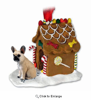 French Bulldog Gingerbread House Christmas Ornament Fawn