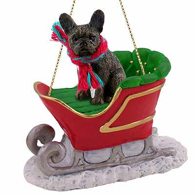 French Bulldog Sleigh Ride Christmas Ornament