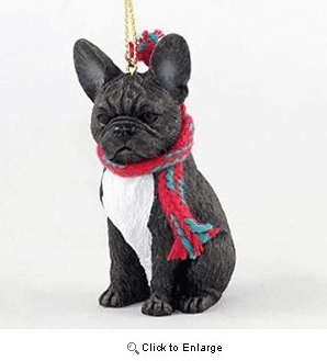 French Bulldog with Scarf Christmas Ornament Large Version