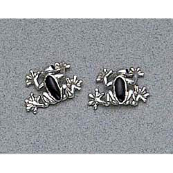Frog Earrings Sterling Silver Stud