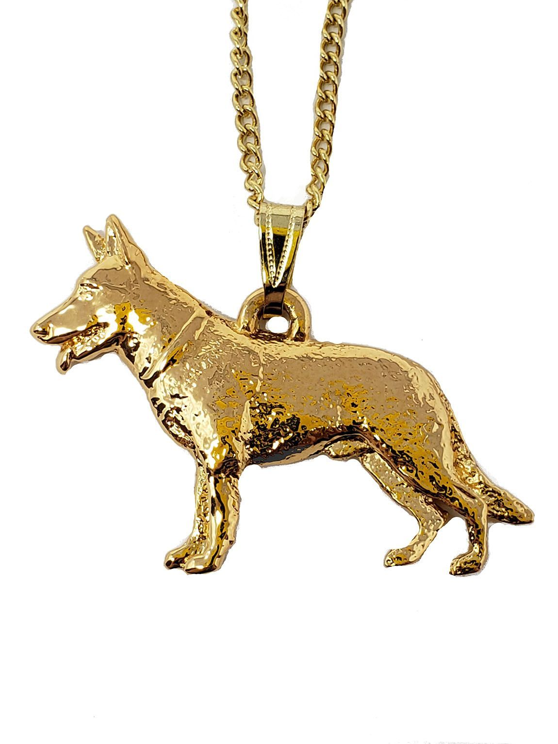 German Shepherd 24K Gold Plated Pendant with Necklace