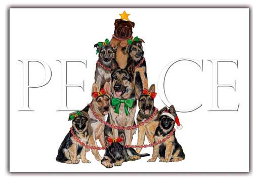 German Shepherd Christmas Cards Peace