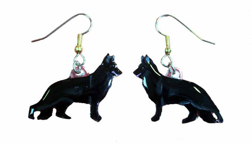 German Shepherd Earrings Black Hand Painted Acrylic