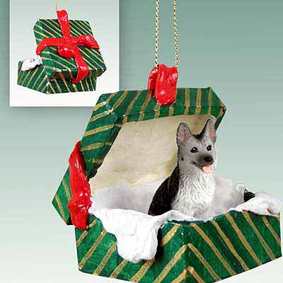German Shepherd Gift Box Christmas Ornament Black-Silver