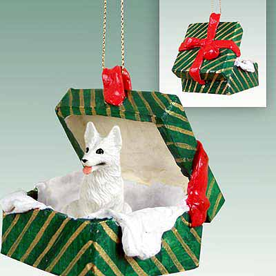 German Shepherd Gift Box Christmas Ornament White