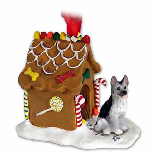 German Shepherd Gingerbread House Christmas Ornament Black-Silver