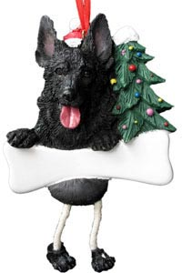 German Shepherd Christmas Tree Ornament - Personalize (Black)