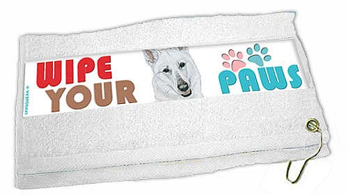 German Shepherd Paw Wipe Towel White