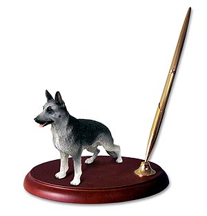 German Shepherd Pen Holder (Silver & Black)