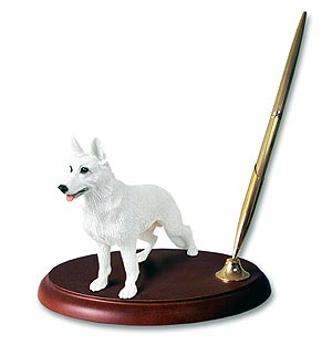 German Shepherd Pen Holder (White)