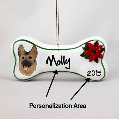 German Shepherd Personalized Dog Bone Christmas Ornament