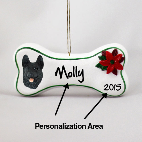 German Shepherd Personalized Dog Bone Christmas Ornament Black