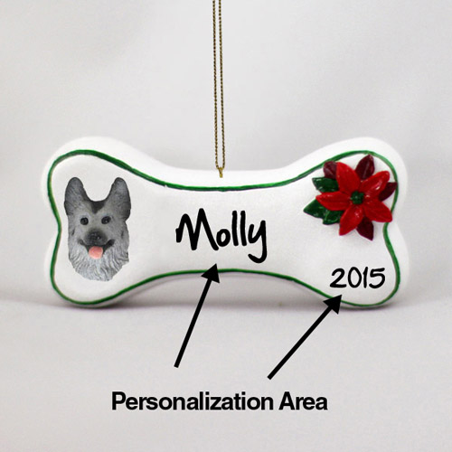 German Shepherd Personalized Dog Bone Christmas Ornament Black-Silver