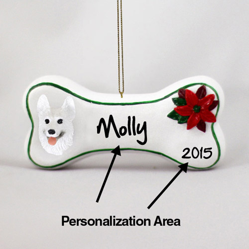 German Shepherd Personalized Dog Bone Christmas Ornament White