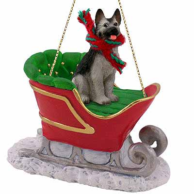 German Shepherd Sleigh Ride Christmas Ornament Black-Silver