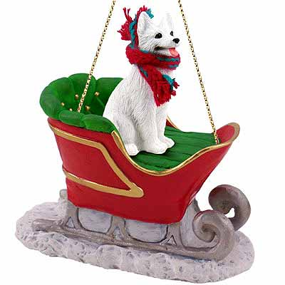 German Shepherd Sleigh Ride Christmas Ornament White