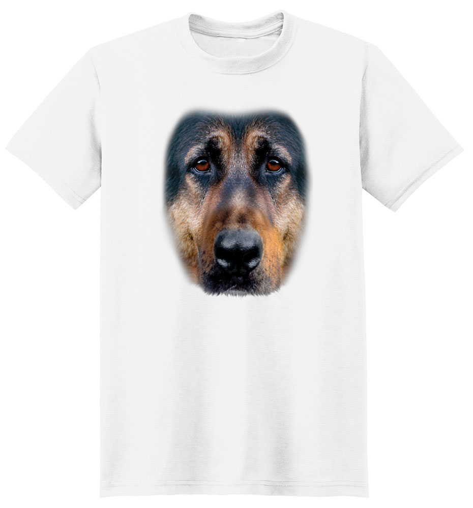 German Shepherd T Shirt Full Face