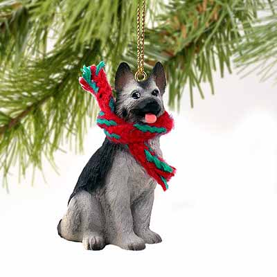 German Shepherd Tiny One Christmas Ornament Black-Silver