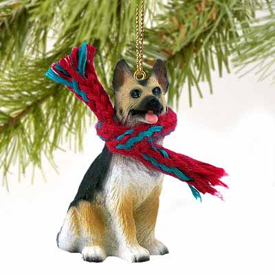 German Shepherd Tiny One Christmas Ornament Tan-Black