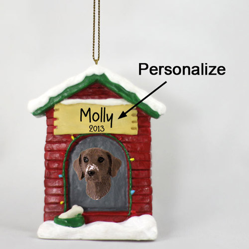 German Shorthaired Pointer Personalized Dog House Christmas Ornament
