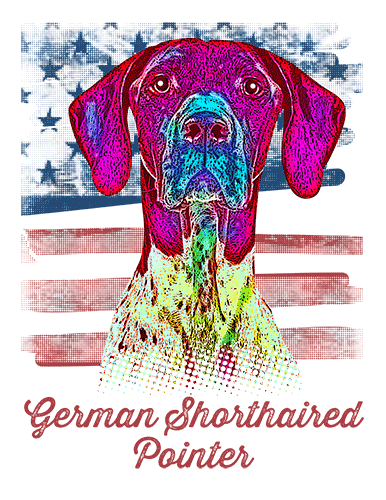 German Shorthaired Pointer T Shirt American Flag