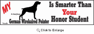 German Wirehaired Pointer Bumper Sticker Honor Student