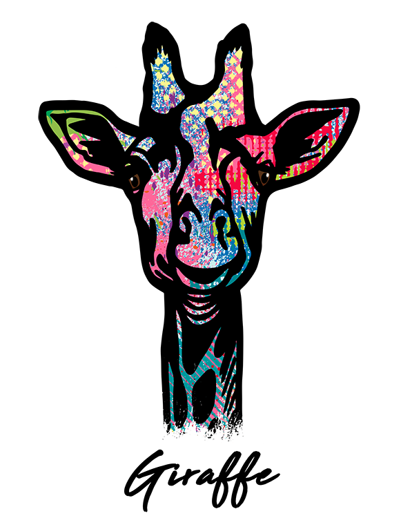 Giraffe T Shirt Colorful Abstract