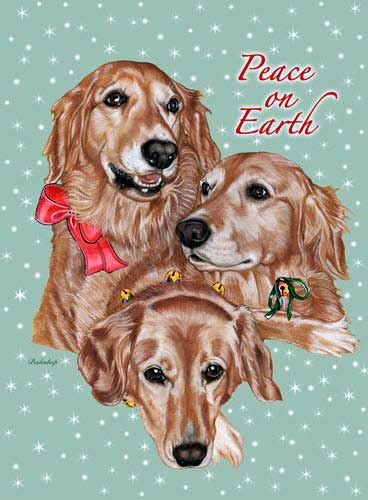 Golden Retriever Christmas Cards Portrait