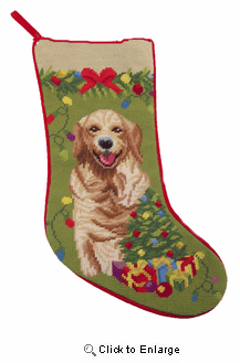 Golden Retriever Christmas Stocking with Tree Background