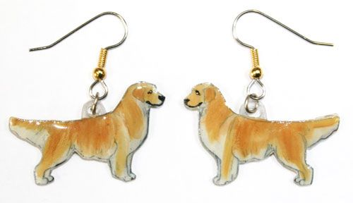 Golden Retriever Earrings Hand Painted Acrylic