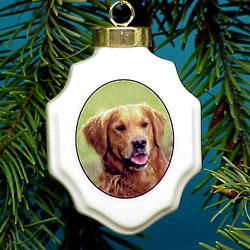 Golden Retriever Christmas Ornament Porcelain
