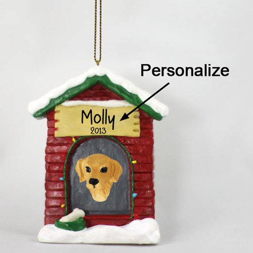 Golden Retriever Personalized Dog House Christmas Ornament