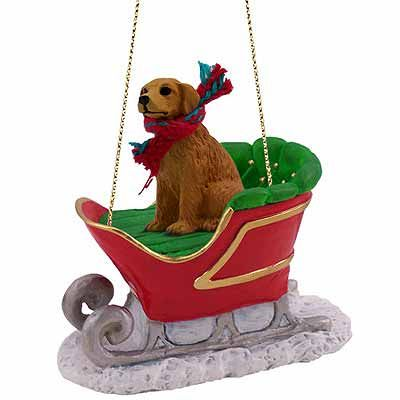 Golden Retriever Sleigh Ride Christmas Ornament