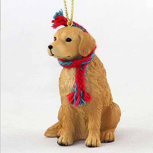 Golden Retriever with Scarf Christmas Ornament Large Version