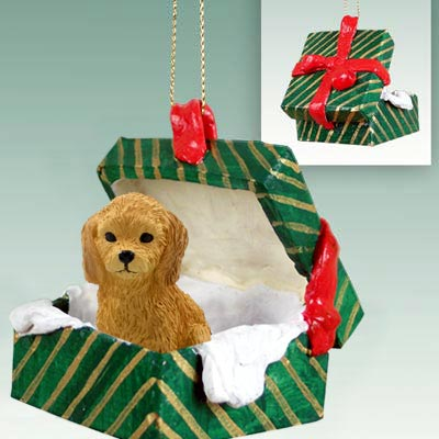 Goldendoodle Gift Box Christmas Ornament
