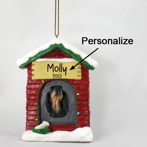 Gordon Setter Personalized Dog House Christmas Ornament