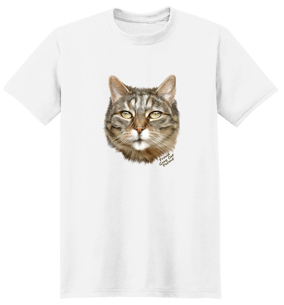 Gray Cat T Shirt - Proud Parent