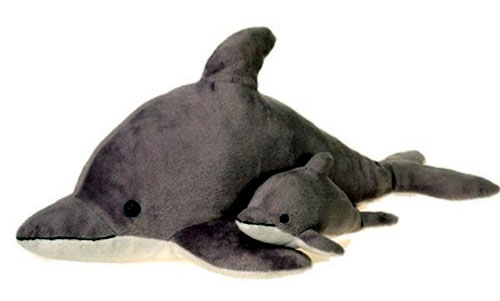 Gray Dolphin With Baby Plush Stuffed Animal 22