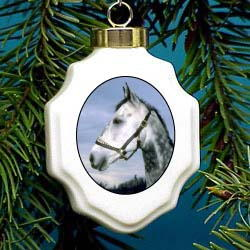 Horse Gray Dapple Christmas Ornament Porcelain
