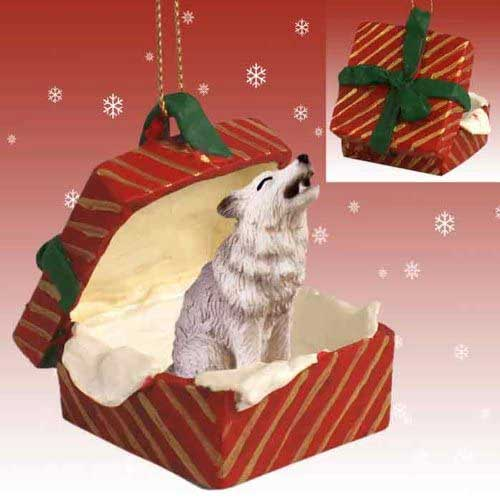 Gray Wolf Gift Box Red Christmas Ornament