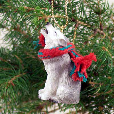 Gray Wolf Tiny One Christmas Ornament