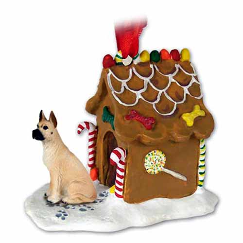 Great Dane Gingerbread House Christmas Ornament Fawn