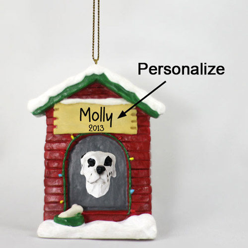 Great Dane Personalized Dog House Christmas Ornament Harlequin Uncropped