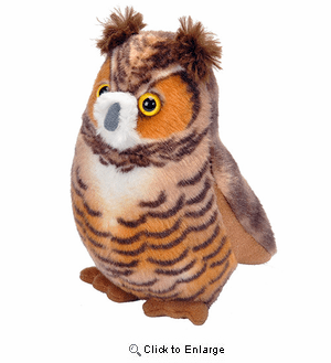 Great Horned Owl Plush Animal 4""