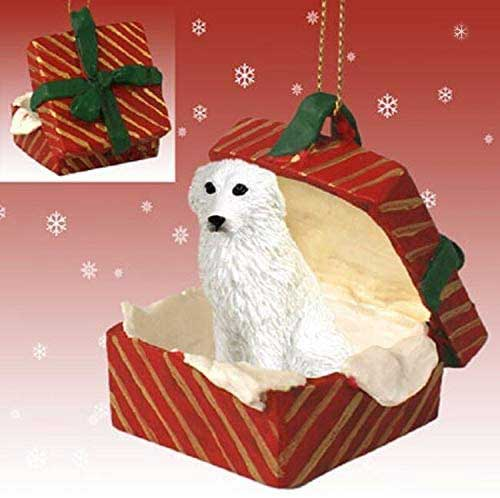 Great Pyrenees Gift Box Red Christmas Ornament