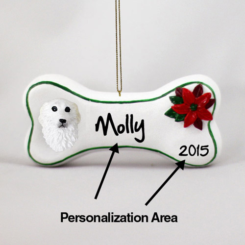 Great Pyrenees Personalized Dog Bone Christmas Ornament