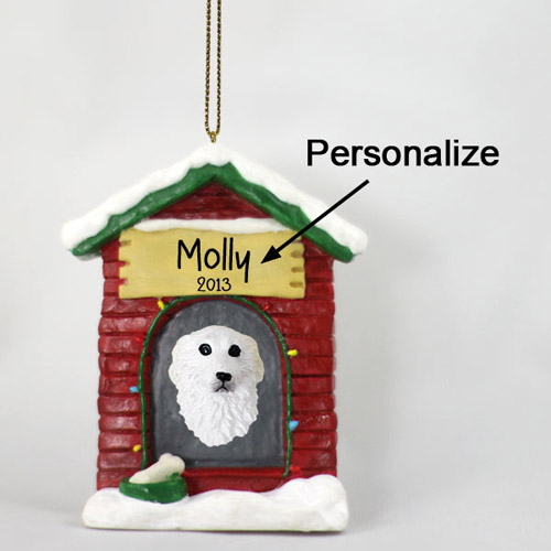 Great Pyrenees Personalized Dog House Christmas Ornament