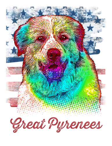 Great Pyrenees T Shirt American Flag