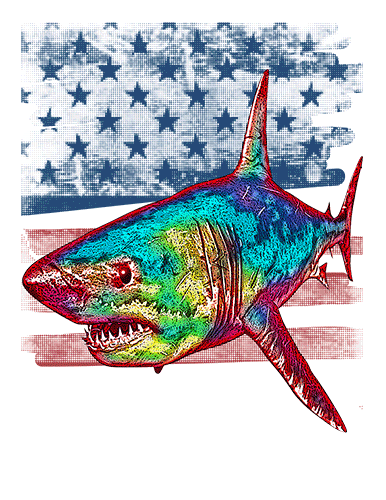 Great White T Shirt American Flag