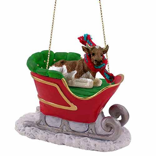 Guernesey Bull Sleigh Ride Christmas Ornament